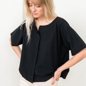 Tribe Alive cotton poplin black top shirt blouse